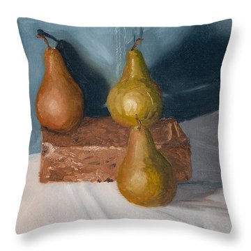 Throw Pillow featuring the painting Three Pears by Break The Silhouette