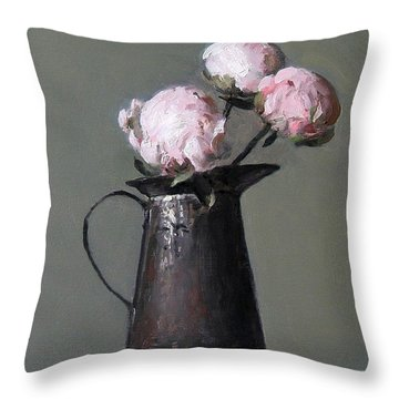 Three Peony Buds In Old Tin Can Throw Pillow