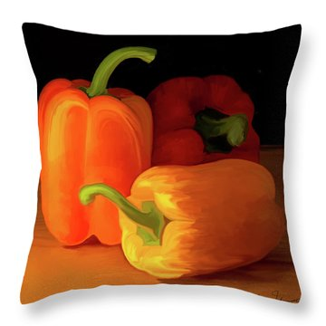 Three Peppers 01 Throw Pillow by Wally Hampton