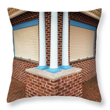 Throw Pillow featuring the photograph Three Pillars At The Refreshment Stand by Gary Slawsky