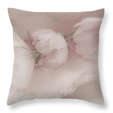 Three Pink Cosmo Flowers Throw Pillow by Sandra Foster