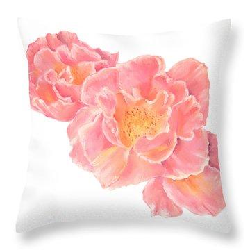 Three Pink Roses Throw Pillow