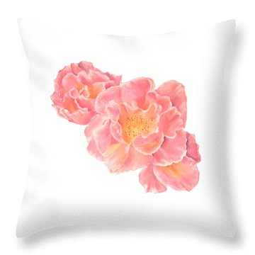 Three Pink Roses Throw Pillow