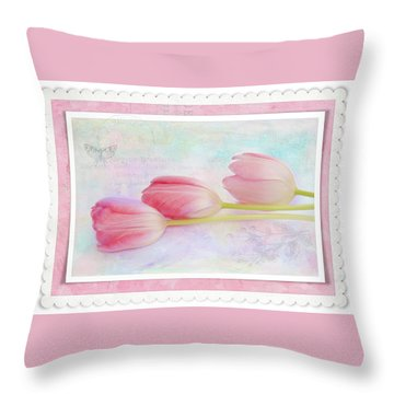 Three Pink Tulips Throw Pillow