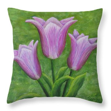 Throw Pillow featuring the painting Three Pink Tulips by Nancy Nale