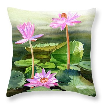 Three Pink Water Lilies With Pads Throw Pillow