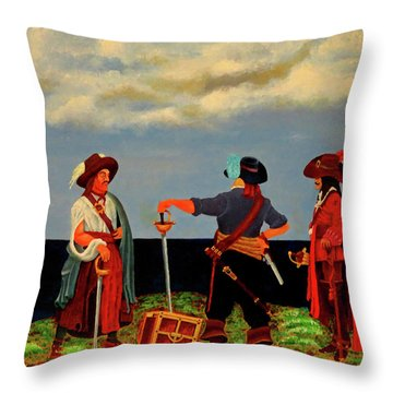 Three Pirates Throw Pillow by Robert Marquiss