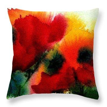 Three Poppies Throw Pillow by Anne Duke
