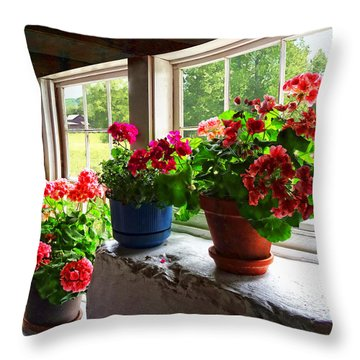 Three Pots Of Geraniums On Windowsill Throw Pillow