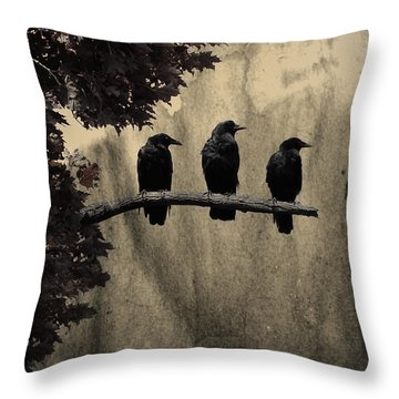 Three Ravens Branch Out Throw Pillow