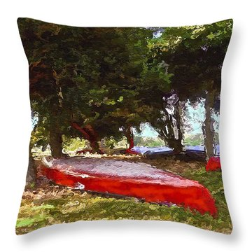 Three Red Canoes Throw Pillow