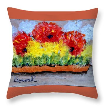 Three Red Flowers Throw Pillow