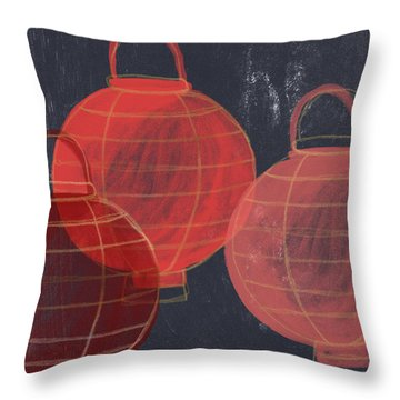 Three Red Lanterns- Art By Linda Woods Throw Pillow