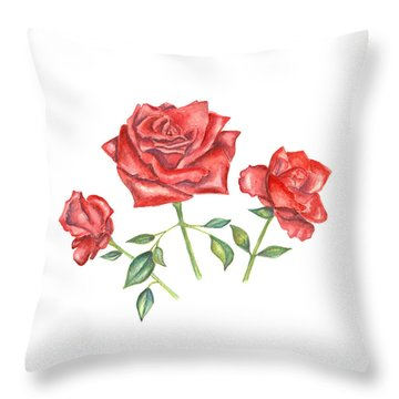 Throw Pillow featuring the mixed media Three Red Roses by Elizabeth Lock