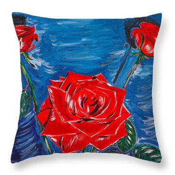 Three Red Roses Four Leaves Throw Pillow