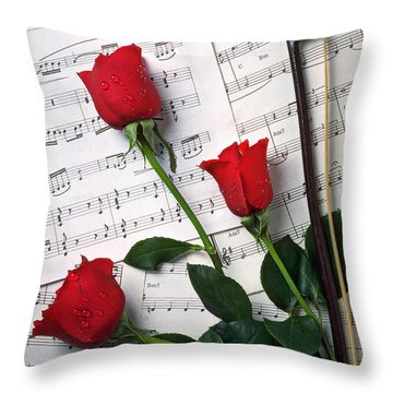 Three Red Roses  Throw Pillow by Garry Gay