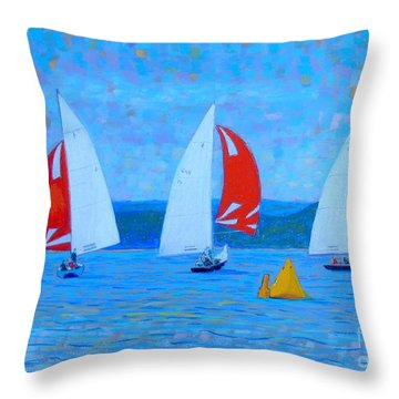Three Red Sails  Throw Pillow