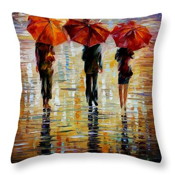 Three Red Umbrella Throw Pillow by Leonid Afremov