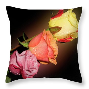 Throw Pillow featuring the photograph Three Roses by Elvira Ladocki