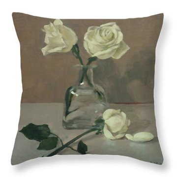 Three Roses In A Tequila Bottle Throw Pillow
