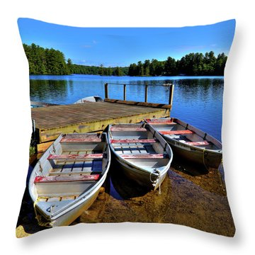 Three Rowboats Throw Pillow by David Patterson