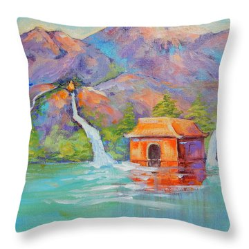 Three Sacred Waters Throw Pillow