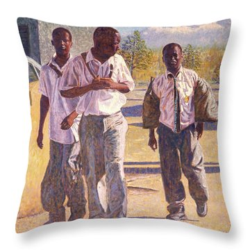 Three School Boys Throw Pillow
