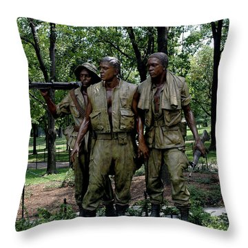 Three Servicemen Throw Pillow