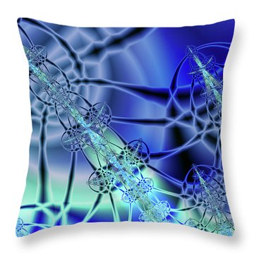 Three Shades Of Blue Throw Pillow