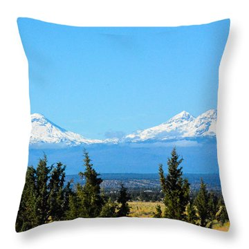 Three Sisters In The Fall Throw Pillow by Linda Larson