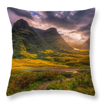 Three Sisters Of Glencoe Throw Pillow by Paul and Fe Photography Messenger