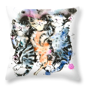 Three Sleeping Kittens Throw Pillow