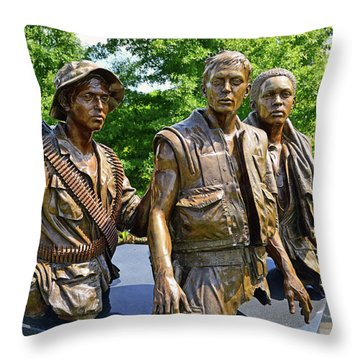 Three Soldiers Monument Throw Pillow