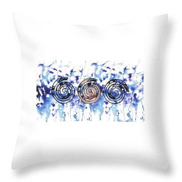Throw Pillow featuring the digital art Three Spirals by Christine Perry