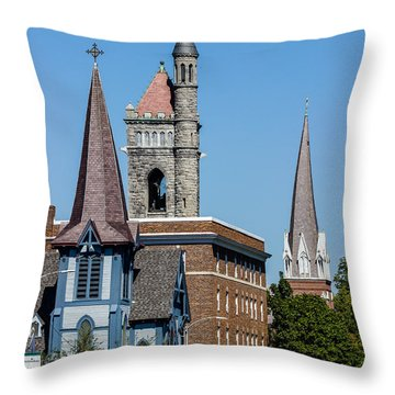 Three Steeples Of St Johnsbury Vermont Throw Pillow by Tim Kirchoff