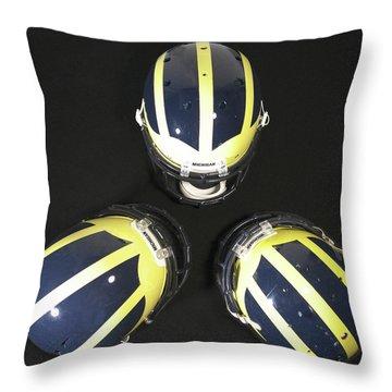 Three Striped Wolverine Helmets Throw Pillow