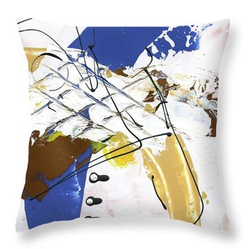 Throw Pillow featuring the painting Three Color Palette Blue 3 by Michal Mitak Mahgerefteh