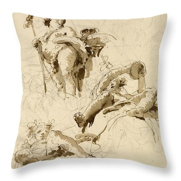 Three Studies Of The God Bacchus Throw Pillow