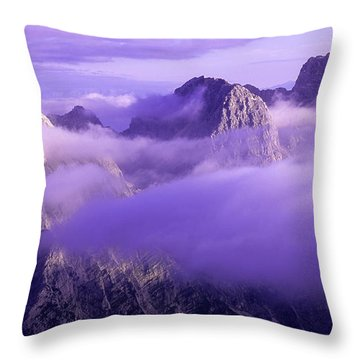 Three Summits. Julian Alps Throw Pillow by Konstantin Dikovsky