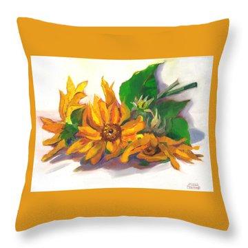 Three Sunflowers Throw Pillow by Susan Thomas