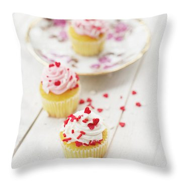Throw Pillow featuring the photograph Three Tiny Cupcakes by Rebecca Cozart