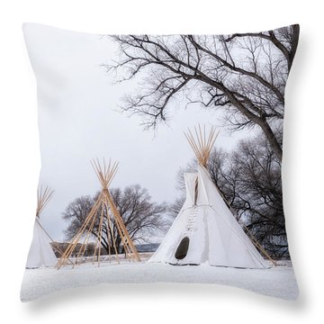 Three Tipis Throw Pillow