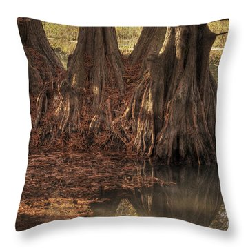 Throw Pillow featuring the photograph Three Trees In Lake Murray by Tamyra Ayles