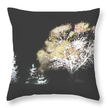 Three Trees In The Dark Throw Pillow