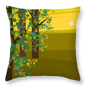 Three Trees In The Spring Throw Pillow