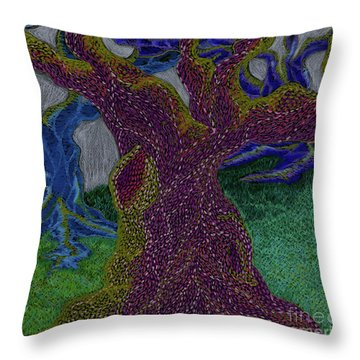 Throw Pillow featuring the drawing Three Trees by Kim Sy Ok