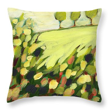 Three Trees On A Hill Throw Pillow