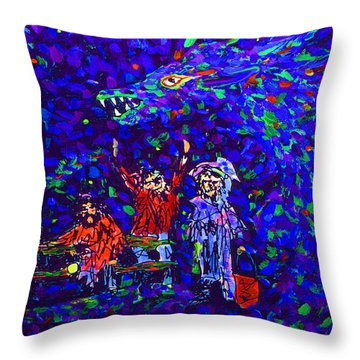 Three Trumbaniks At Parkbench With Dragon Throw Pillow