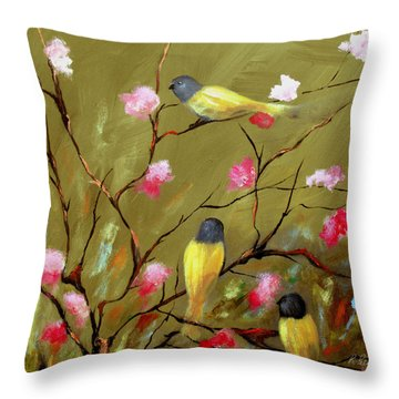 Three Tweets Throw Pillow by Ruth Palmer