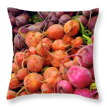 Three Types Of Beets Throw Pillow